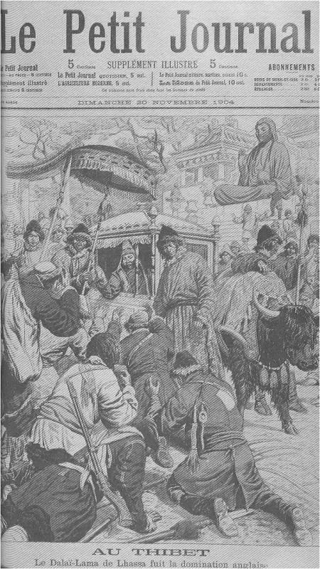 La fuga del Dalai Lama da Lhasa durante la dominazione Inglese sulla copertina di un giornale all'inizio del novecento