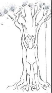 Radice e tronco La spina dorsale è come il tronco di un albero che vi alza fino al cielo in modo che le mani entrino in contatto con l'energia del cosmo attirandola verso il basso.  Quando vi alzate e camminate, i piedi si ramificano nel suolo, sfruttando a fondo l'energia terrestre